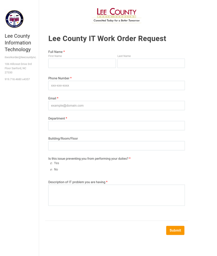 IT Work Request Form